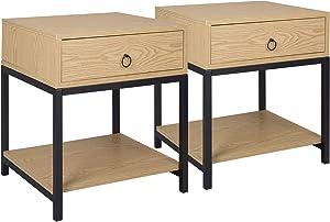 WOLTU Lot de 2 Table de Chevet avec tiroir et Compartiment de Rangement Ouvert en métal, MDF, 45x40x45cm, Chêne Clair, TSR71hei-2