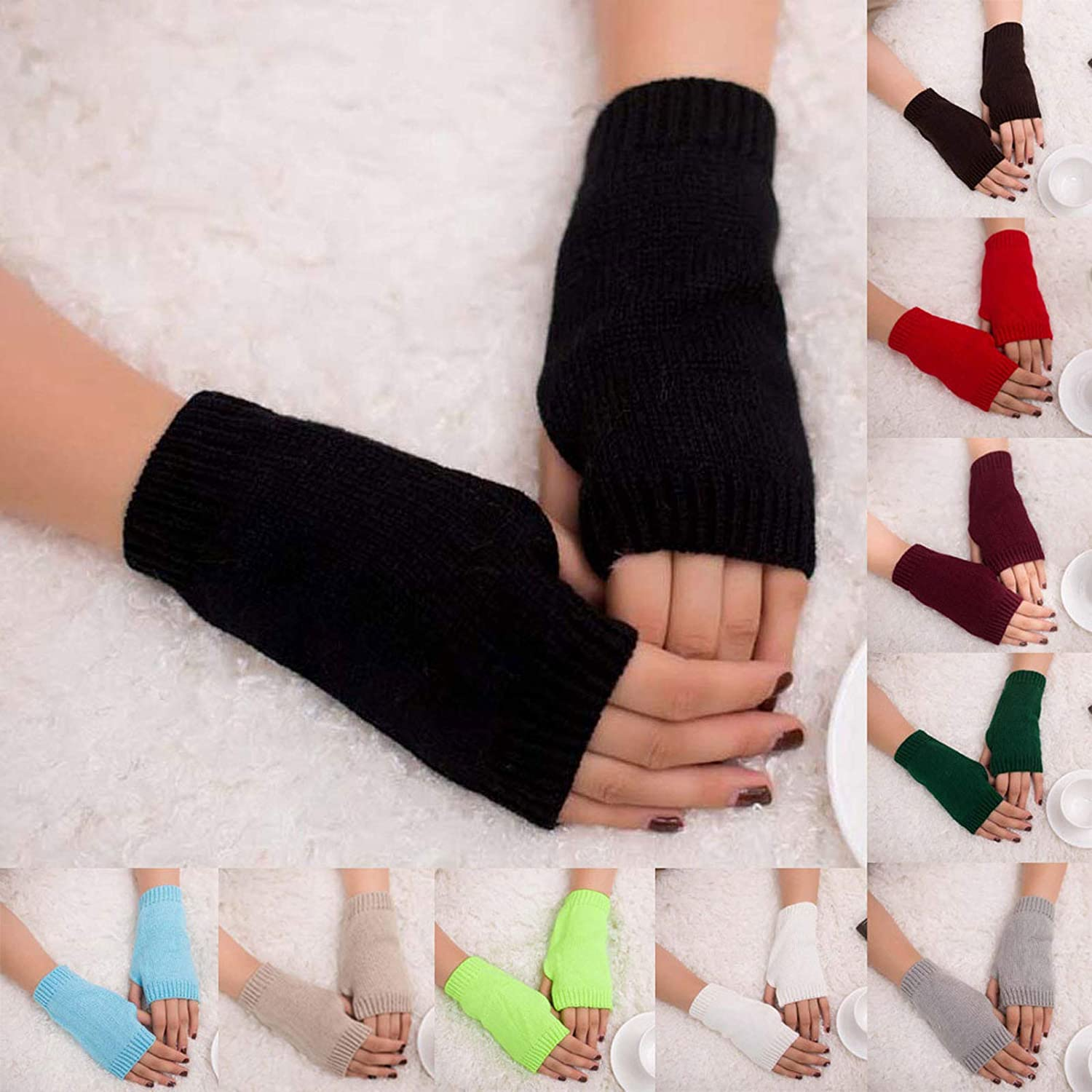 OSTELY Women Mitten Winter Warm Soft Solid Color Knitted Arm Fingerless Gloves