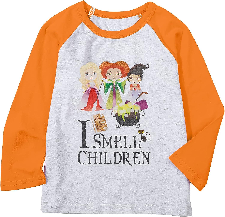 Baby Girls Boys Halloween Shirt I Smell Children Hocus Pocus Tshirt Sanderson Sisters Fall Raglan Sleeve Tee Tops