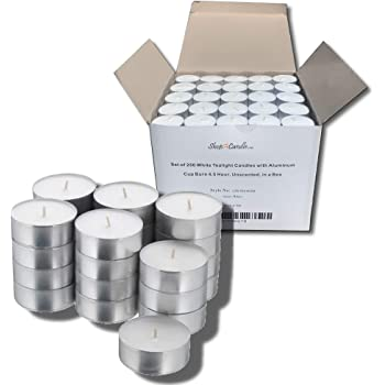 Bulk Set of 250 Tealight Candles in Metal Cups (White) 4.5 Hour Burn Time (Unscented Tea Lights)