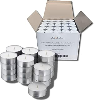 Bulk Set of 250 Tealight Candles in Metal Cups (White) 4.5 Hour Burn Time (Unscented)