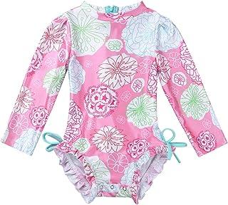 LiiYii Toddler Baby Girls Ruffled Bathing Suit Long Sleeves Floral Printed Swimsuit One Piece Beachwear