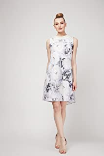S.L. Fashions Womens Plus Size Sleeveless Print Asymmetric Chiffon Overlay Dress Sleeveless Special Occasion Dress