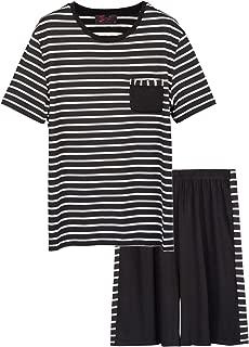 Zexxxy Mens Pajamas Set Short Sleeve Striped Tops with Shorts Sleep Set ZE0146