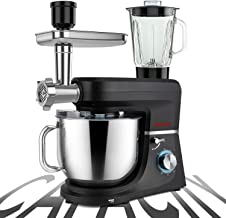 پایه میکسر SanLidA 6-IN-1 ، قطر 9.5. میکسر آشپزخانه چند منظوره چند منظوره با 9 لوازم جانبی برای اکثر آشپزهای خانگی ، SM-1507BM ، Nero Nemesis Black