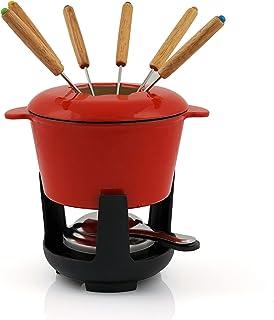 BBQ-Toro Service à fondue en fonte pour 6 personnes (rouge/crème émaillée) | 1 litre | Service à fondue | 13 pièces avec b...