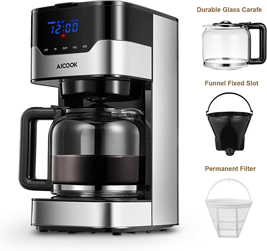 Aicook Coffee Maker 10 Cup Programmable Coffee Machine With Coffee Pot Drip Coffee Maker With Timer And Thermal Pot Permanent Filter Coffee Maker Black