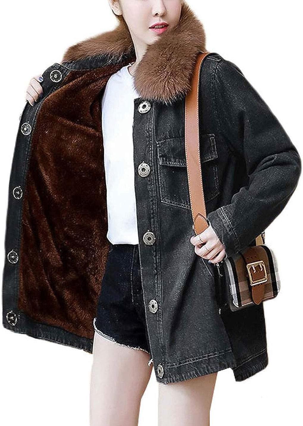 Omoone Women's Loose Faux Fur Collar Fleece Lined Denim Trucker Jacket Coat