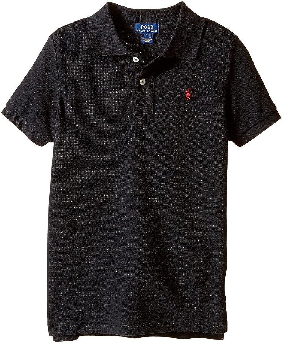 Polo Ralph Lauren Kids Basic Mesh Polo Little Kids/Big Kids Polo Black Boy's Short Sleeve Knit
