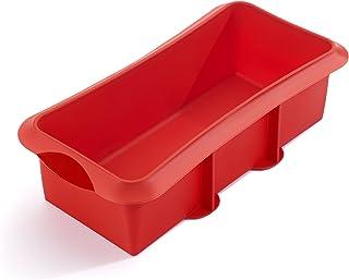 Lékué 1210528R01M033 Moule à Cake 28 cm, Silicone Platine, Rouge