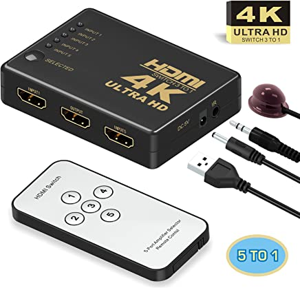 GANA Intelligent 5-Port HDMI Switch Switcher, Supports 4K, Full HD1080p, 3D with IR Remote,Black