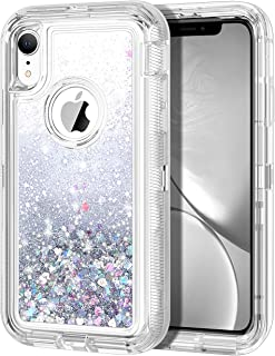 JAKPAK Case for iPhone XR Case Glitter Bling Sparkle for Girls Woman iPhone XR Case Heavy Duty Shockproof Full Body Protective Shell Hard PC Bumper and TPU Back Cover for iPhone XR 10R Silver