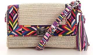 91ce1a7554 Fuchsia - Petit sac bandoulière à rabat ethnique femme en raffia Malone  (f9825-1