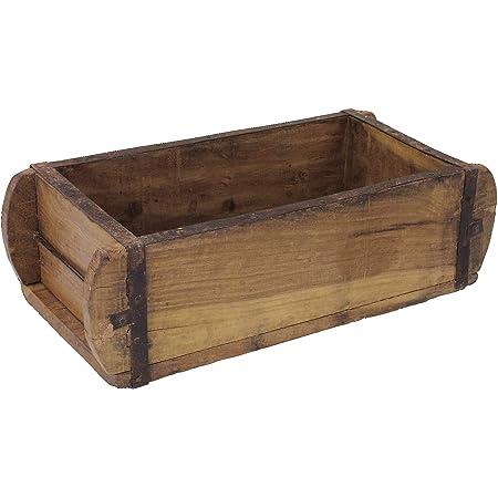 Macosa - Scatola decorativa in legno massiccio, TM16460, 32 x 15 cm, stampo per tegole, pezzo unico, in stile vintage, organizer per il bagno, decorazione da tavola