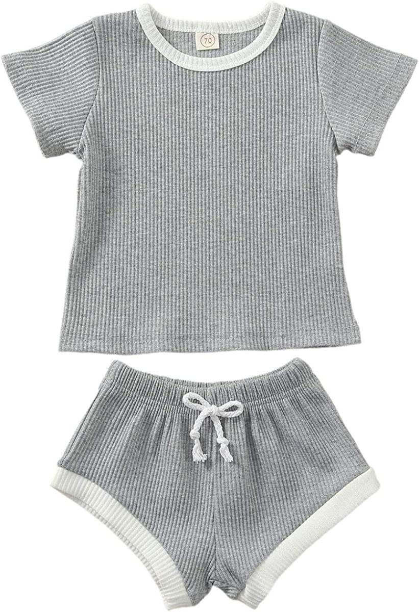 Infant Newborn Baby Boy Girl Ribbed Shorts Sets Solid Pocket Tops T-Shirt and Shorts Outfit Summer Clothes