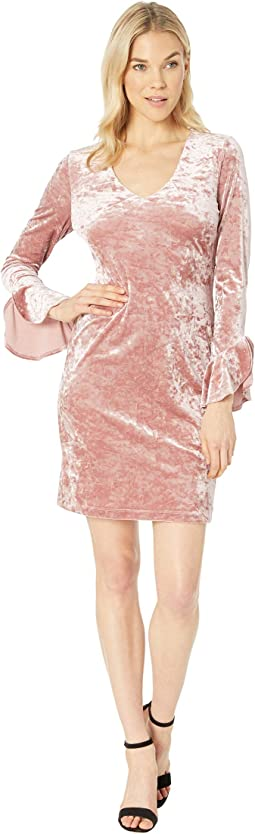 Crush Velvet Ruffle Sleeve Dress