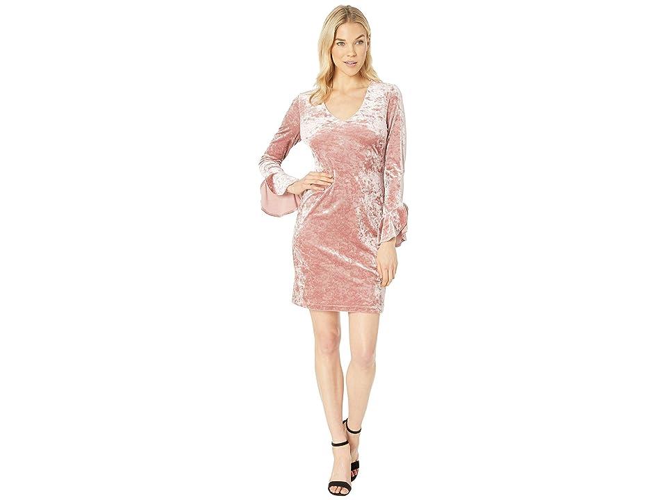 Karen Kane Crush Velvet Ruffle Sleeve Dress (Petal Pink) Women