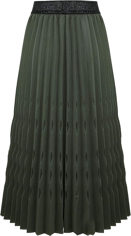 ZOMIHOYANG Womens Pleated Midi Skirt,High Waist Swing Boho Pleated Skirt Casual Chiffon Elastic A-line Long Skirts