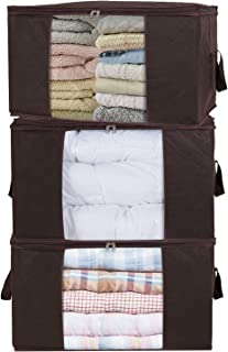 Lifewit Large Capacity Clothes Storage Bag Organizer with Reinforced Handle Thick Fabric for Comforters, Blankets, Bedding, Foldable with Sturdy Zipper, Clear Window, 3 Pack, 90L, Brown