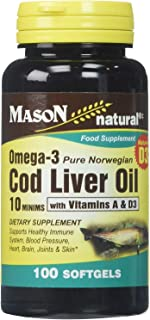 Mason Natural Omega-3 Cod Liver Oil Softgels - 100 ct, Pack of 2