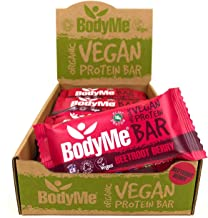 BodyMe Organic Vegan Protein Bar Raw Beetroot Berry 12 x 60g Vegan Protein Snack Bars Gluten Free 16g Complete Protein 3 Plant Proteins All Essential Amino Acids High Protein Vegan Snacks Estimated Price : £ 24,00