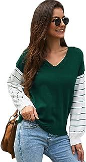 SweatyRocks Women's Color Block V Neck Striped Long Sleeve Knit Sweater Jumper