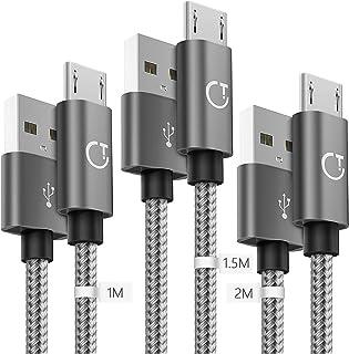 Gritin Cable Micro USB 3 Pack-1M/1.5M/2M, Carga Rápida Trenzado de Nylon Cargador Micro USB para Galaxy, Kindle, Nexus y más