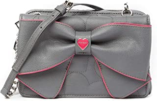 Betsey Johnson Bow Wos Grey Double Bow Red Trim Detail Wallet On A String Crossbody