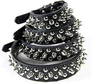 CoreLife Spiked Dog Collar/Cat Collar, Studded Vegan Leather Pet Collar for Dogs and Cats, Black