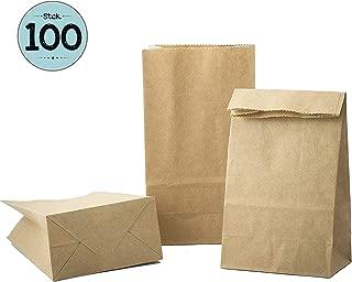 100 piezas Bolsas de Papel Regalo 9 x 16 x 5 cm - Bolsa Biodegradable Regalos Comunión para Invitados o para Guardar Comida, Semillas Flores, Dulces, Chuches, Pan - pequeñas Bolsitas Kraft Marrón