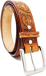 """1.5"""" Men's Cowboy Western Rodeo Fashion Floral Tooled Tan Leather Belt 2655RS"""