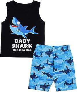 Baby Boy Clothes Baby Shark Doo Doo Doo Print Summer Cotton Sleeveless Outfits Set Tops + Short Pants