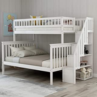 Twin-Over-Full Bunk Bed for Kids with Storage and Stair Loft, Crisp White