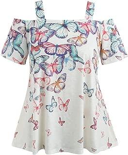 Women Off Shoulder Plus Size Butterfly Short Sleese Tops Blouse T-Shirt
