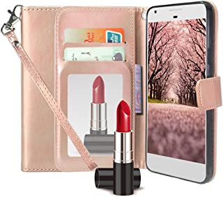 Blu Studio XL2 Case,Harryshell Kickstand Flip PU Wallet Leather Protective Case Cover with Card Slot & Wrist Strap for Blu Studio XL 2 S0270UU (Mirror Rose Gold)