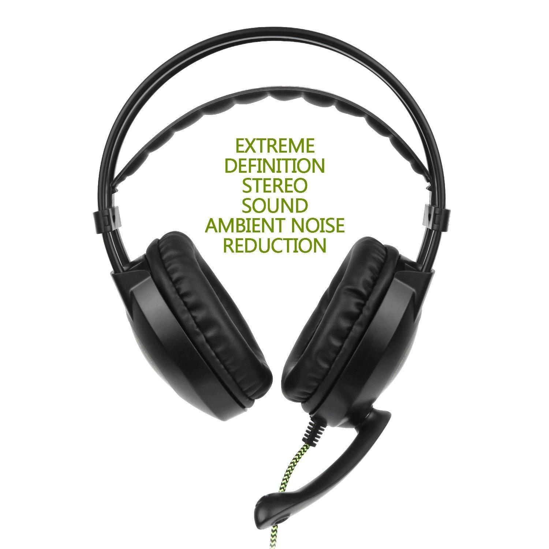 Auriculares estéreo en color verde de 3,5 mm con micrófono y control de volumen para el oído y aislamiento de ruido para ordenador portátil Xbox One PC y tabletas Mac PS4, SADES