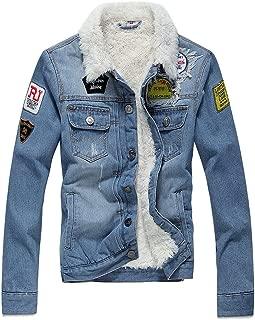 Winter Fleece Lined Fur Collar Men Denim Jacket with Patches