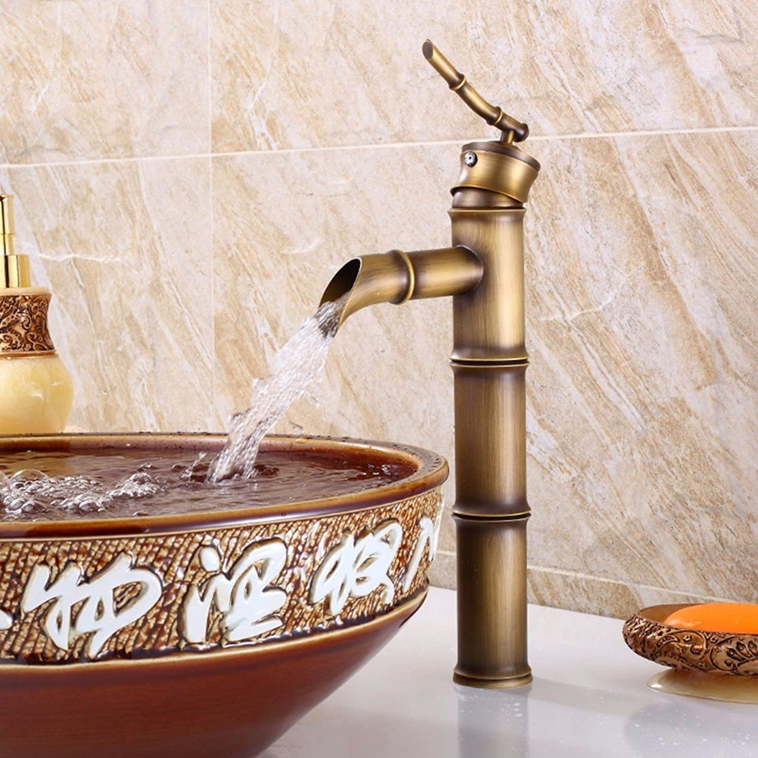 Hlluya Professional Sink Mixer Tap Kitchen Faucet Bamboo hot and cold, full of copper, wash basins, plus high, Single Handle faucet, of 34  15cm