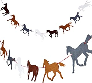 Best 4 Pieces Horse Garland Banner Horse Racing Streamer Horse Party Garland for Horse Racing Birthday Wedding Party Decoration, Pre-assembled Review