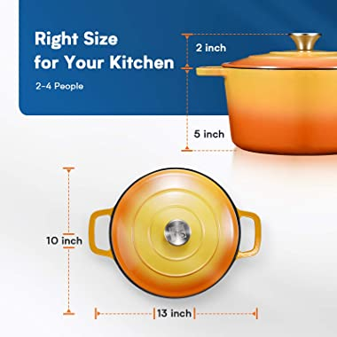 CSK Cast Iron Dutch Oven, 5 Quart Oven Pot with Stainless Steel Knob and Loop Handles, Cast Iron Round Pot with Nonstick Enam