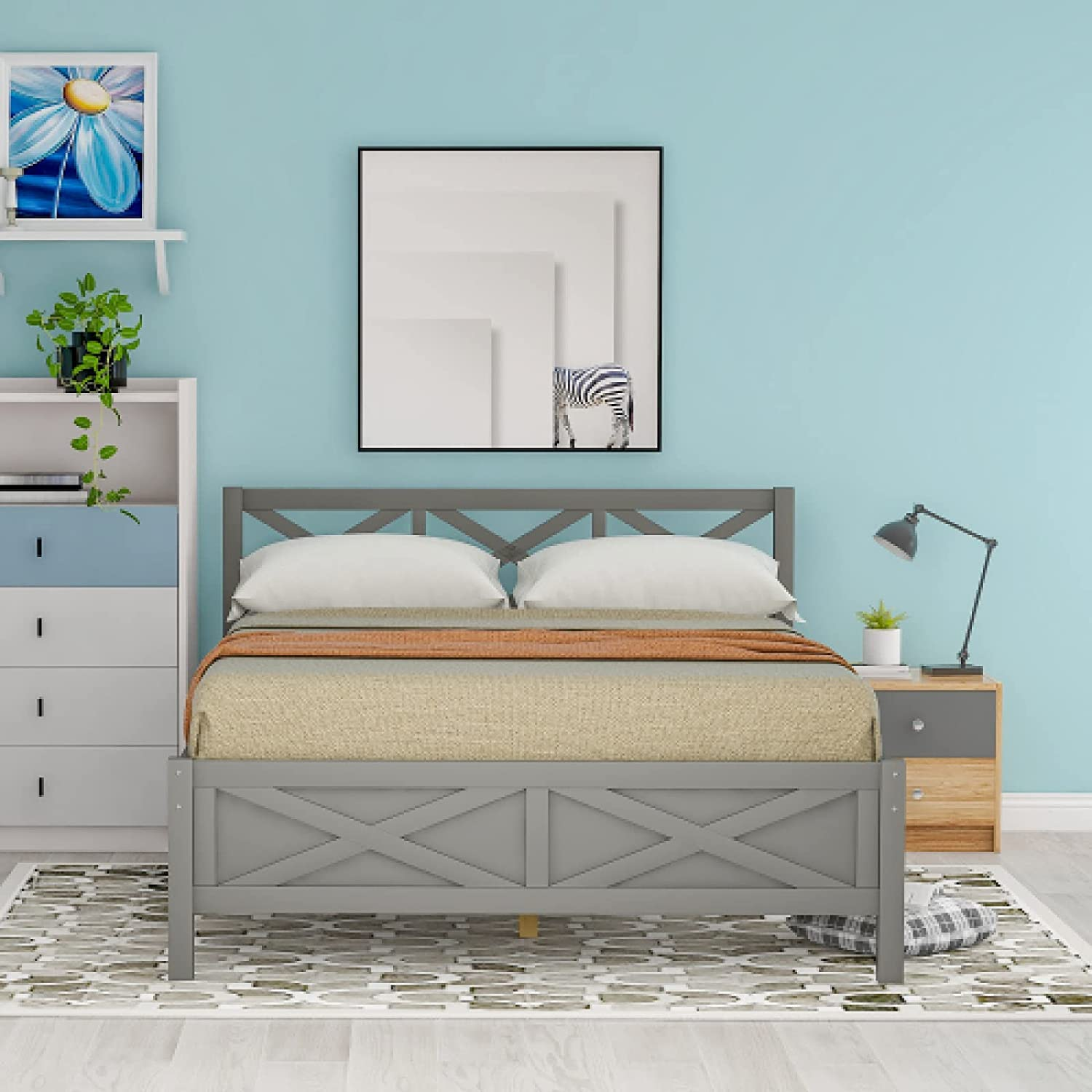 Queen Free supreme shipping on posting reviews Size Wooden Platform Bed Support with X-Shaped Extra Legs