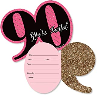 Chic 90th Birthday - Pink, Black and Gold - Shaped Fill-in Invitations - Birthday Party Invitation Cards with Envelopes - Set of 12