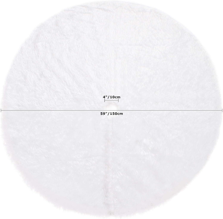 Sea Team Blanco como la Nieve Falda de /árbol de Navidad de Felpa peque/ña de 30 Pulgadas para /árbol peque/ño de 3-4 pies Tela de Piel sint/ética de Lujo
