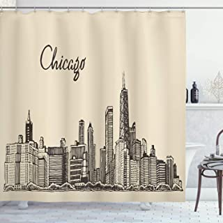 Ambesonne Chicago Skyline Shower Curtain, Vintage Style Urban Silhouette Country Culture Architecture Capital, Cloth Fabric Bathroom Decor Set with Hooks, 75