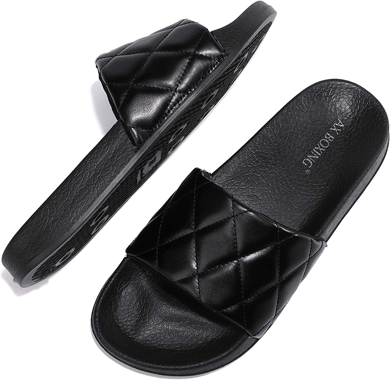 AX BOXING Women's Athletic Slide Sandals Flat Slip on Sandals for Women Summer Slippers
