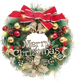 SGQCAR Artificial Christmas Wreath,Christmas Hanging Wreath ,Xmas Garland Wreath Ornaments with Lights,Christmas Ornament ...