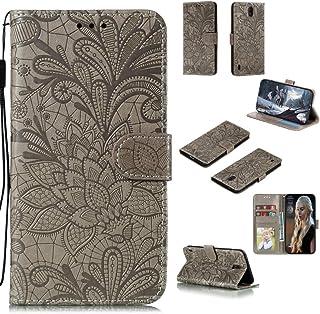 جراب QGTONG-SA لهاتف Nokia C1 من جلد الوجه الأفقية مع حامل وفتحات للبطاقات وإطار الصورة