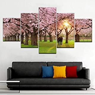 Canvas Paintings 5 Pieces DIY Cherry blossoms HD Oil Canvas Painting for Living Room Parlor Wall Art Decoration Flower Pic...