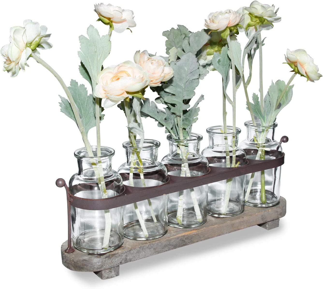 Funsoba Rustic 5 Glass Bottles Bud Vase Set with Wood Metal Tray for Decor Table Centerpieces (Type A)