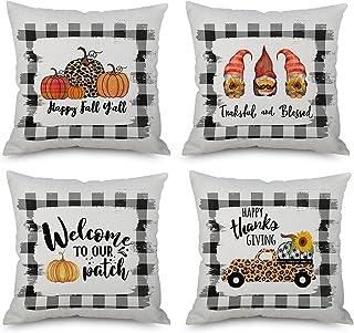 Gooi kussenhoezen, herfst decoratieve kussenhoes Buffalo geruite val vrachtwagen boerderij decor gooien kussensloop kussen...